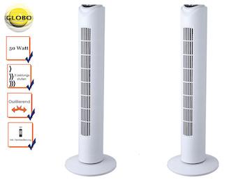 2er Set Turmventilator TOWER, Fernbedienung und Timer, oszillierend, 3 Stufen