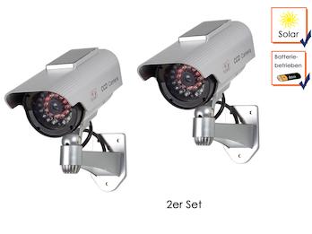 2er Set Kamera-Attrappe mit IR-LEDs und Solarmodul, inkl. Montagematerial