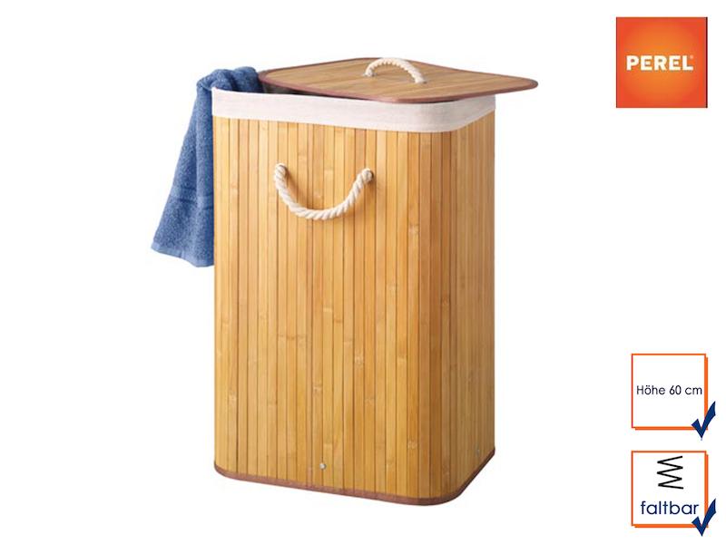 Wäschekorb aus Bambus, Rechteckig, mit Wäschesack, faltbar, 40x30 cm, Höhe 60 cm