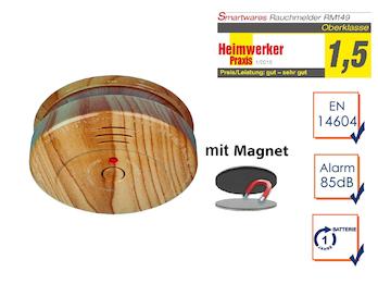 Rauchmelder in Holzoptik - 1 Jahres Batterie mit EASY & CLEAN Magnetmontage
