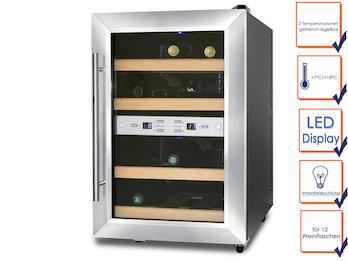 Caso Profi Weinkühlschrank, 12 Flaschen, 2 getrennte Temperaturzonen, 7-18° C