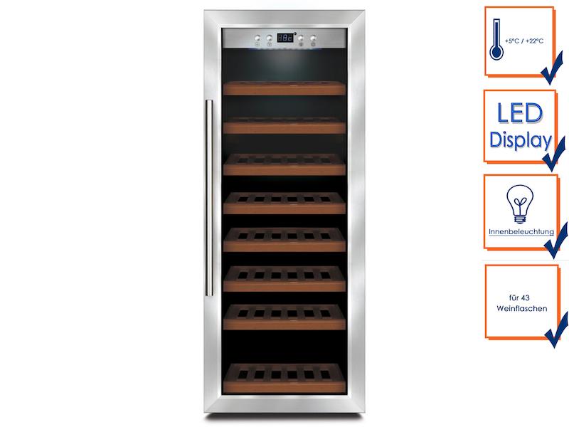 Caso Profi Weinkühlschrank für 43 Flaschen, 5-22°C, vibrationsarm und leise