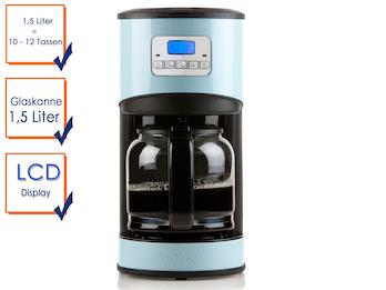 Kaffeemaschine in Blau mit 24-Std. Timer,950W, 1,5 Liter, LCD-Anzeige