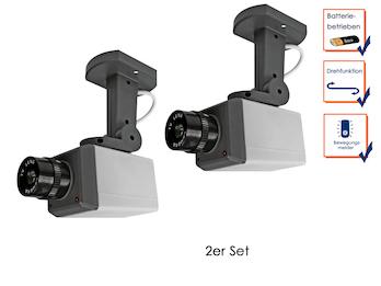 2er Set Kamera-Attrappe, Bewegungssensor, leuchtende LEDs, Batteriebetrieb