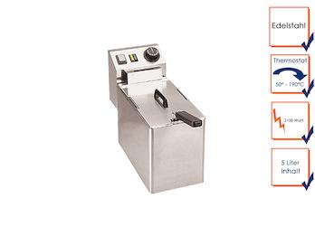 Profi Edelstahl Fritteuse, 2100 Watt, 5 Liter, Thermostat bis 190°C, Kaltzonen