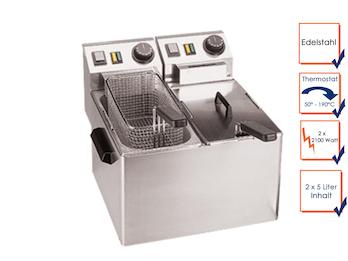 Profi Doppel Fritteuse, Edelstahl, 2 x 5 Liter, 2 x 2100W, Thermostat bis 190°C