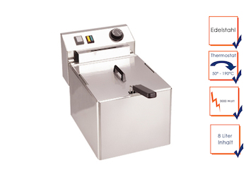 Profi Edelstahl Fritteuse, 8 Liter, 3000 Watt, Thermostat bis 190°C