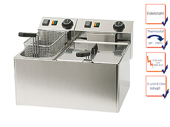 Profi Doppel Fritteuse, Edelstahl, 5 und 8 Liter, Thermostat bis 190°C