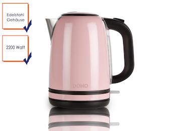 Retro Wasserkocher in pastell Rosa mit 2200W und 1,7 l Fassungsvermögen