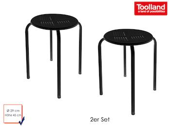 2er Set robuster und stabiler Hocker aus pulverbeschichtetem Stahl - schwarz