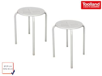 2er Set Robuster und stabiler Hocker aus pulverbeschichtetem Stahl - weiß