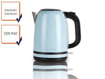 Retro Wasserkocher in pastell Blau mit 2200W und 1,7 l Fassungsvermögen