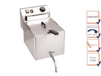Profi Edelstahl Fritteuse mit Ablasshahn, 8 Liter, 3000W, Thermostat bis 190°C