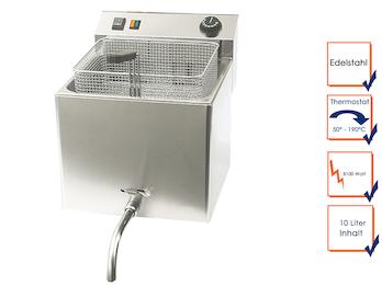 Profi Edelstahl Fritteuse mit Ablasshahn, 10 Liter, 8100W, Thermostat bis 190°C