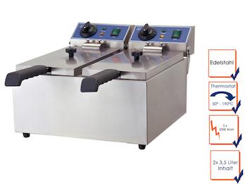 Profi Doppel Fritteuse, Edelstahl, 2x 2 kW, 2 x 3,5 Liter, Sicherheitsthermostat