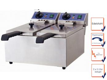 Profi Doppel Fritteuse, Edelstahl, 2x 3000 Watt, 2x 5L, Sicherheitsthermostat