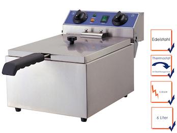 Profi Edelstahl Fritteuse, 3 kW, 6 Liter, Sicherheitsthermostat