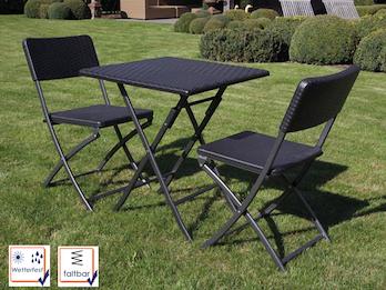Stabile und robuste Gartengarnitur mit 2 Stühlen, Kunststoff, klappbar, schwarz