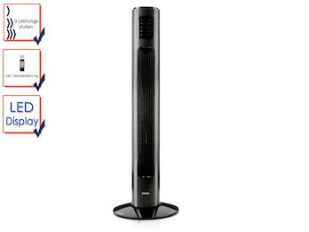 Turmventilator inkl. Fernbedienung, 3 Leistungsstufen, Höhe 96 cm, LED-Display