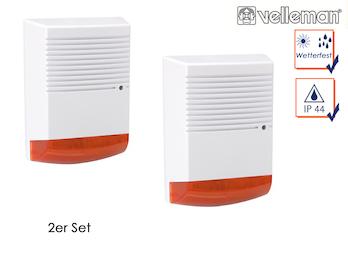 2er Set Sirenen Attrappe mit blinkender LED wetterfest Batteriebetrieb
