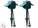 2er-SET Gartensteckdosen 2-fach mit Erdspieß, IP44, Stromverteiler