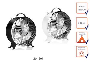 2er Set Retro Ventilator Schwarz & Weiß, 2 Stufen, 1800 U/min, Ø 25cm, mit Griff