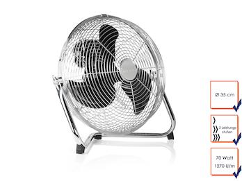 Bodenventilator in silber, Ø 35cm, 70 Watt, 3 Leistungsstufen, 130° Winkel