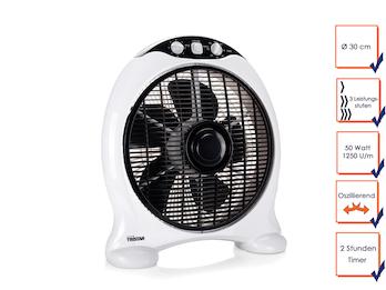 Box Ventilator mit 3 Stufen, oszillierend, Timerfunktion, 50 Watt, 1250 U/m