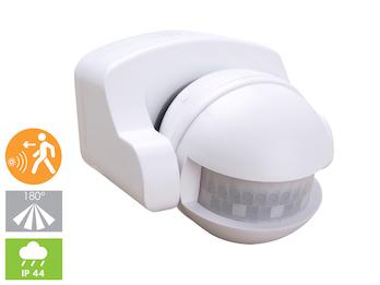 Aufputz Bewegungsmelder weiß 8m/180°, Lux und Zeitintervall einstellbar