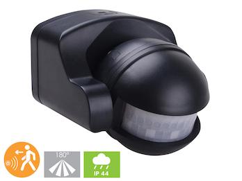 Aufputz Bewegungsmelder schwarz 8m/180°, Lux und Zeitintervall einstellbar