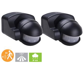 2er-SET Aufputz Bewegungsmelder schwarz 8m/180°, Lux & Zeitintervall einstellbar