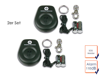 2er Set Mini-Taschenalarm Überfallalarm SOS-Notruf Personen-Alarm 110dB