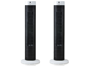 Säulenventilator im 2er Set, Oszillierend, H 77cm, LED-Anzeige