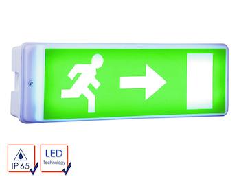 LED Notbeleuchtung inkl. Ersatzbatterie u. 4 Richtungsaufkleber, IP65