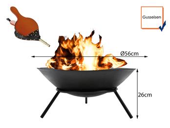 Rustikale Feuerschale aus schwarzem Gusseisen Ø 56cm mit Blasebalg
