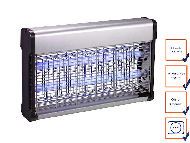 Insektenvernichter mit 2 UV-Lampen á 20 Watt, Wirkungskreis bis 150 m²