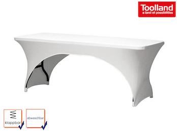 Stabiler und robuster Klapptisch aus Kunststoff mit weißer Stretch Husse
