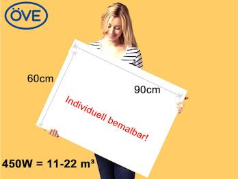 450Watt Infrarotheizung, 90x60 cm, für Räume 11-22m³, Wand- und Deckenmontage