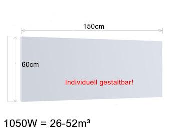 Infrarotheizung 1050W, 150x60cm, Oberfläche keramisch Hochglanz weiß, bedruckbar