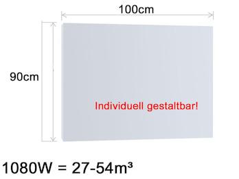 Infrarotheizung 1080W, 100x90cm, Oberfläche keramisch Hochglanz weiß, bedruckbar
