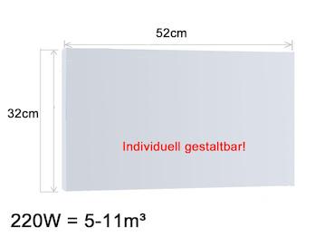 Infrarotheizung 220W, 52x32cm, Oberfläche keramisch Hochglanz weiß, bedruckbar