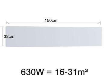 Infrarotheizung 630W, 150x32cm, keramische Oberfläche Hochglanz weiß, bedruckbar