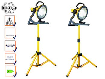 2er Set Baustrahler höhenverstellbar mit Energiesparlampen, für innen und außen