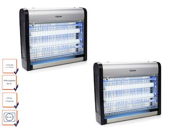 Insektenvernichter im 2er Set mit UV-Lampe Wirkungskreis 80qm 2x 10 Watt UV