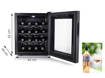Kleiner Weinkühlschrank sehr leise für 16 Flaschen mit 3 Chrom-Ablagen