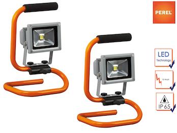 2er Set tragbare Baustrahler LED Fluter Arbeitsleuchten 10W mit 1,5m Kabel