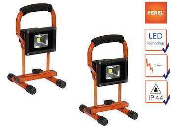 2er Set tragbare LED Baustrahler, Arbeitsscheinwerfer 10W kaltweiß