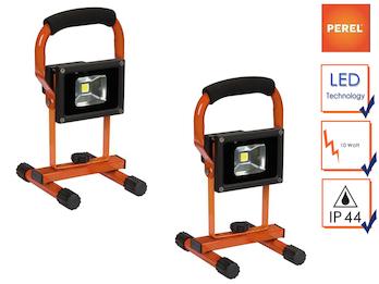 2er Set tragbare LED Baustrahler mit Akku, Arbeitsscheinwerfer 10W neutralweiß