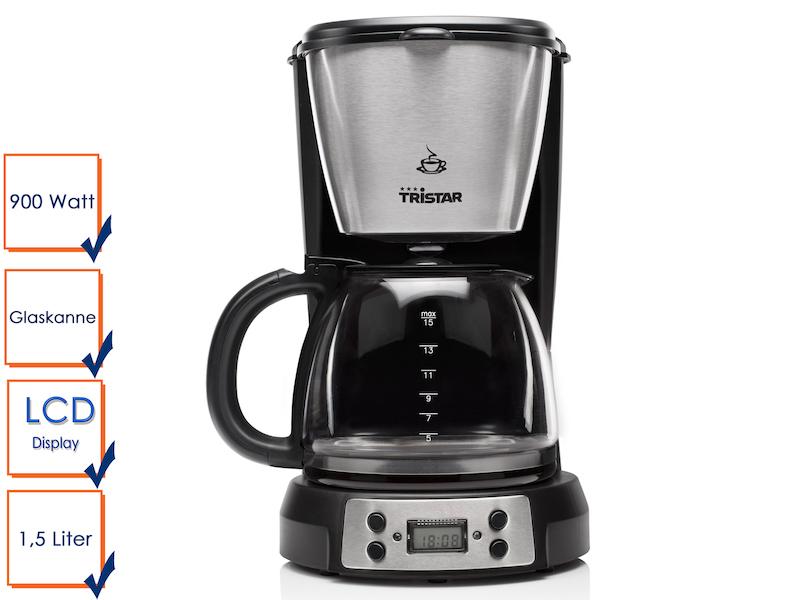 Kaffeemaschine geeignet für 12 bis 15 Tassen Kaffee inklusive LCD-Display