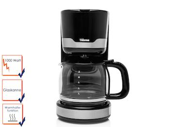 Praktische Kaffeemaschine für 10-12 Tassen inklusive 1,25 Liter Glaskanne